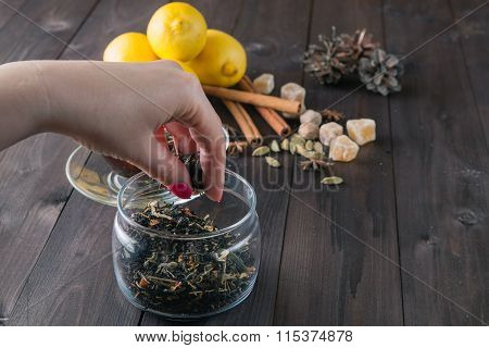 Woman Strew Herbal Tea