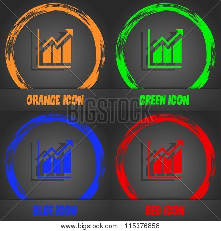 Growing Bar Chart Icon. Fashionable Modern Style. In The Orange, Green, Blue, Red Design.