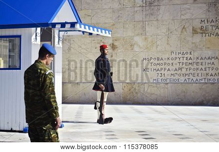 evzones soldiers in Athens Greece