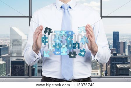 Man Collecting A Puzzle
