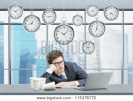 Man Sleeping At His Working Place