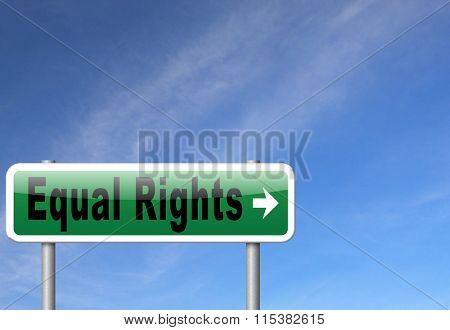 Equal rights no discrimination and same opportunities for all women man disabled black and solidarity discrimination of people with disability or physical and mental handicap, road sign billboard.