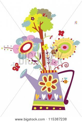 Watering can design with flowers, insects and tree. Symbol for gardening, importance of water, growth, ecology etc.