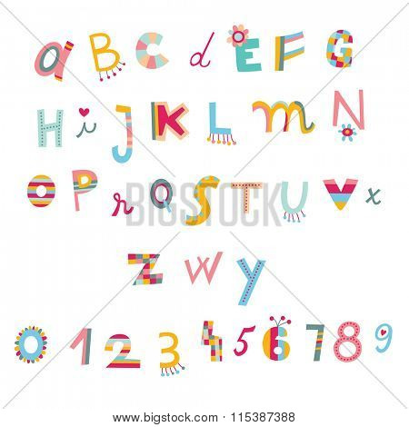 Colorful alphabet and numbers in whimsical style.