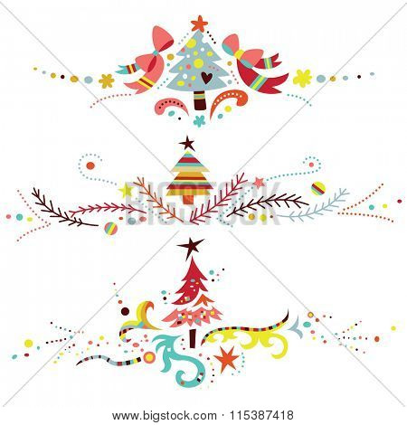 Set of three Christmas ornaments, especially suitable to use as dividers or borders.