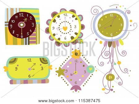 Collection of six cute clocks with varied shapes and colors.