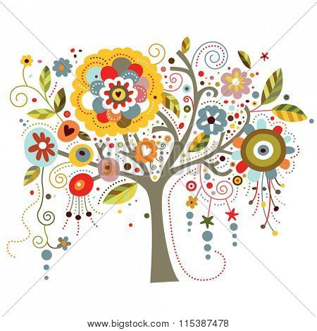 A tree richly adorned with whimsical flowers.