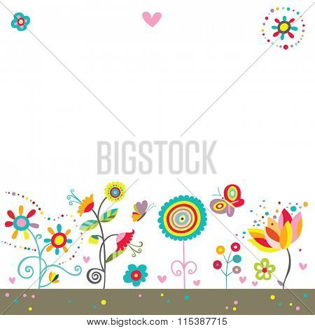 Colorful background with whimsical flowers, butterflies and hearts in a cheerful color palette.