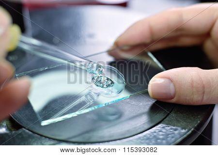 Scientist Taking Sample Of Liquid