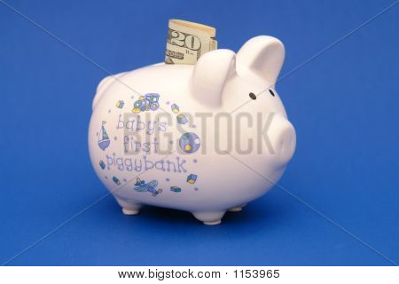 Piggybank For Baby Blue Background