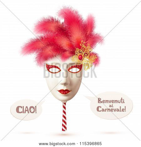 White realistic vector carnival mask with red feathers and speech bubbles