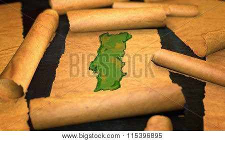Portugal Map Painting Unfolding Old Paper Scroll 3D