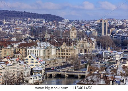 Zurich Cityscape In Winter
