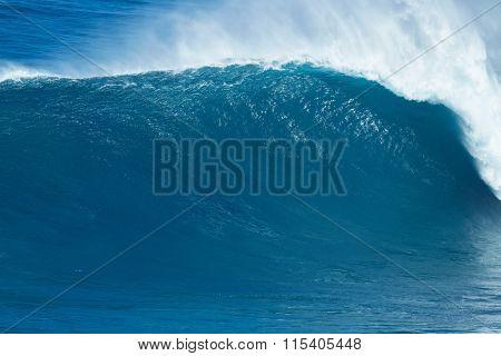 Giant powerful blue ocean wave