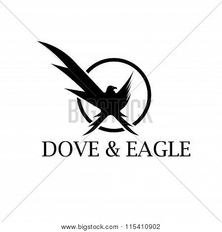 Dove And Eagle Negative Space Concept Vector Design Template