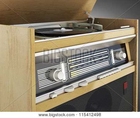 Vintage radio with gramophone record. 3D illustration