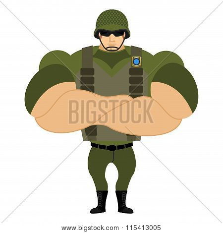 Soldiers In Flak Vest. Military Helmet. Powerful Soldiers In Protective Clothing. Strong Army Man. V