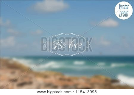 Blurred photo background with turquoise sea waves, cliff and blue sky. Vector Illustration EPS10.