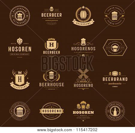 Vintage Beer Logos Set. Vector design elements