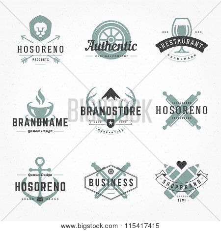 Retro Hand Drawn Logos Vector Templates Set.