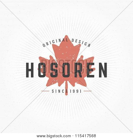Maple Leaf Hand Drawn Logo Template. Vector Design Element Vintage Style
