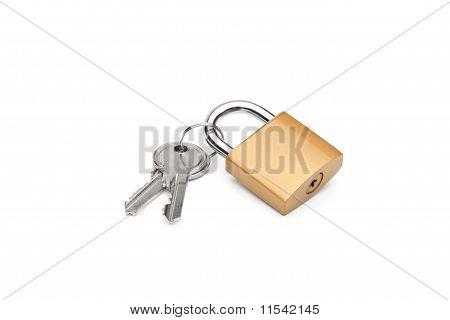 Closed Padlock And Keys