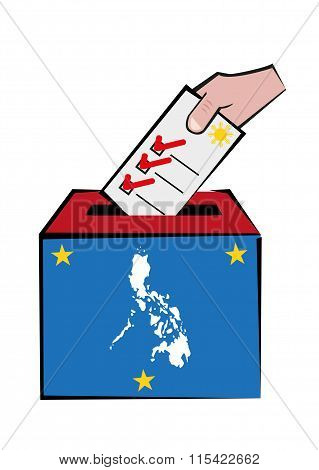 Philippines Election Concept with Map and Voters Hand on Ballot Box. Editable Clip Art.