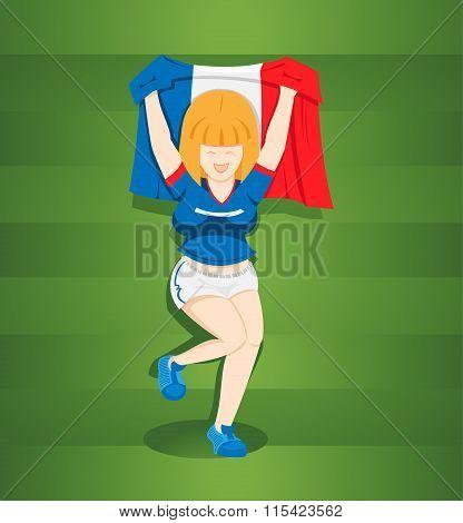 Teen Girl Footballs Fans From France