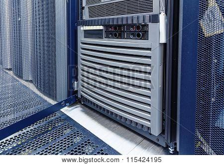open door of mainframe data center closeup