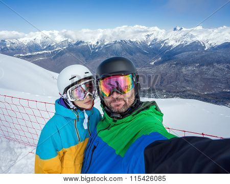 Couple Snowboarders Doing Selfie On Camera
