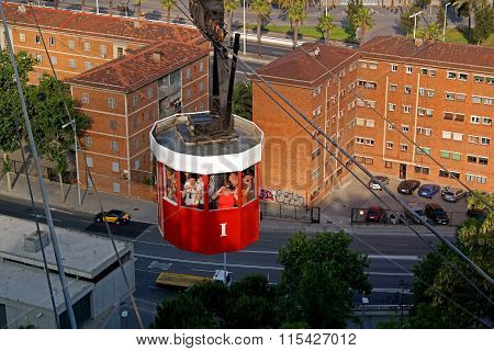 Barcelona, Spain - May 17, 2014: The Cable Car To The Top Of The Hill Of Montjuic.