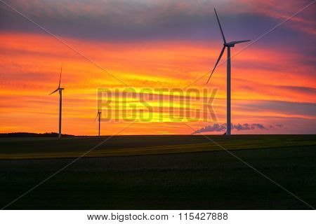 wind turbines in twilight