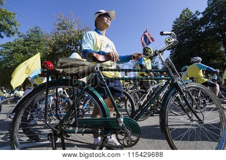Cyclist At Bike For Dad