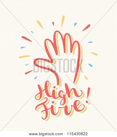 High five. Greeting card.