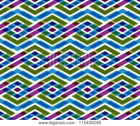 Bright Abstract Seamless Pattern With Interweave Lines. Vector Psychedelic With Stripes.