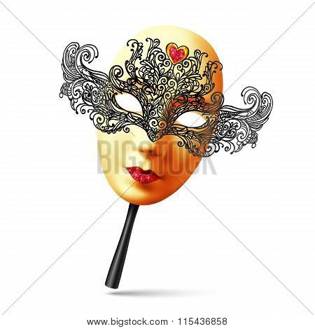 Vector golden full face ornate carnival mask with black handle