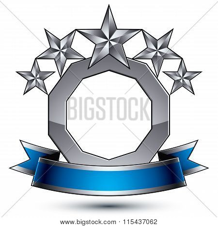 Sophisticated Vector Emblem With 5 Silver Glossy Stars And Blue Wavy Ribbon, 3D Decorative Design El