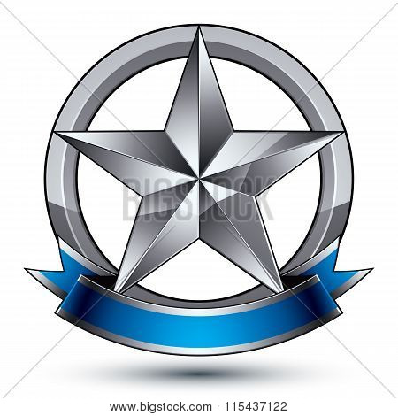 Glamorous Vector Template With Pentagonal Silver Star Symbol, Best For Use In Web And Graphic Design