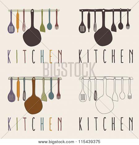 Kitchen Utensils Set Vector Design Template