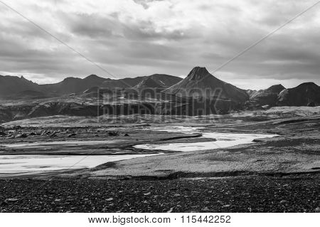 """Vast volcanic """"Moon like"""" desert with volcanoes and rocks of lava hiden in the highlands of Iceland, Laki area.  Black and white. poster"""