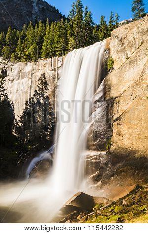 Beautiful Vernal Falls is located on Merced river. Yosemite National Park, California, USA. Long exposure
