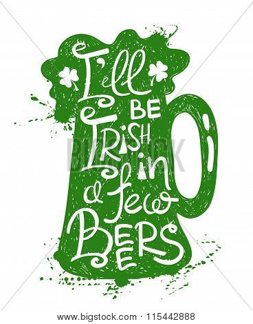 St. Patrick's Day Typography Poster With Beer.