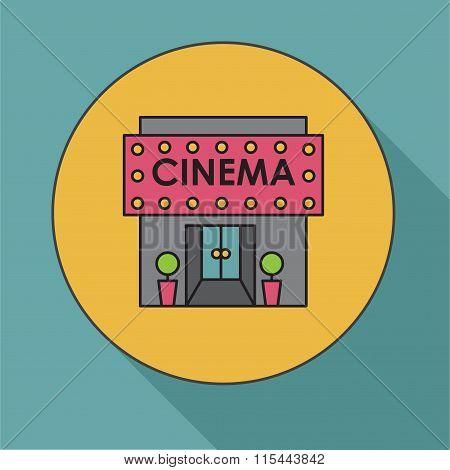 Cinema Building. Flat Vector Illustration Cinema House. Icon