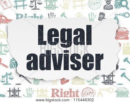 Law concept: Legal Adviser on Torn Paper background