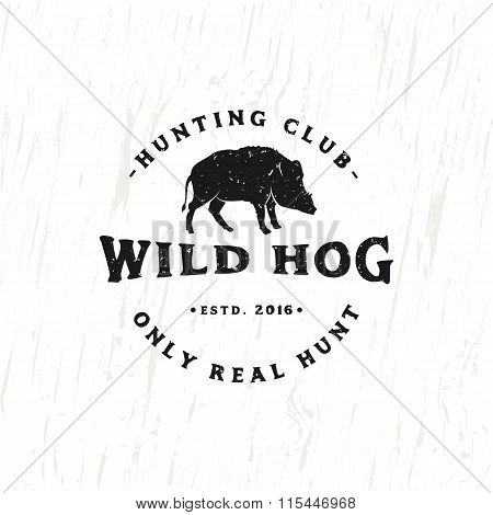 Vintage Hunting Club Emblem with Wild Hog.