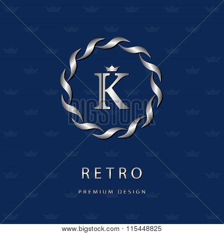 Monogram Design Elements, Graceful Template. Elegant Line Art Logo Design. Letter Emblem K. Retro Vi