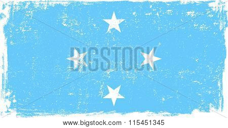 Micronesia vector grunge flag isolated on white background.