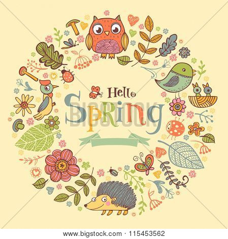 Hello Spring banner in doodle style, hand-drawn animals and insects, flowers and plants