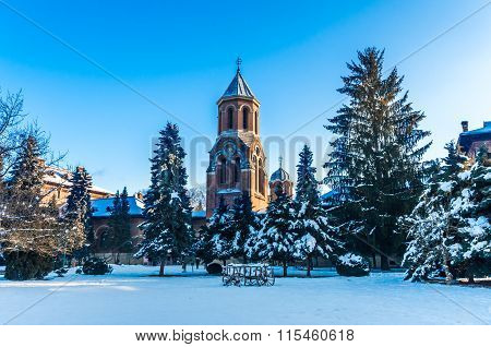 Curtea De Arges Monastery In Winter, Romania