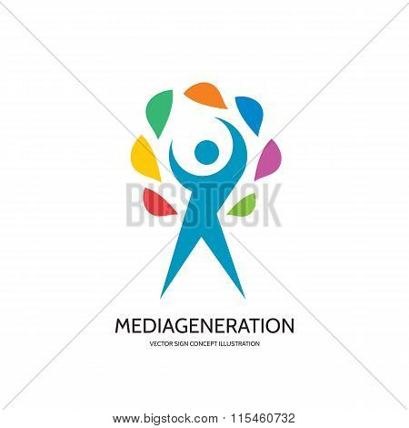 Media generation - vector logo concept illustration. Human character logo. People logo. Man logo.
